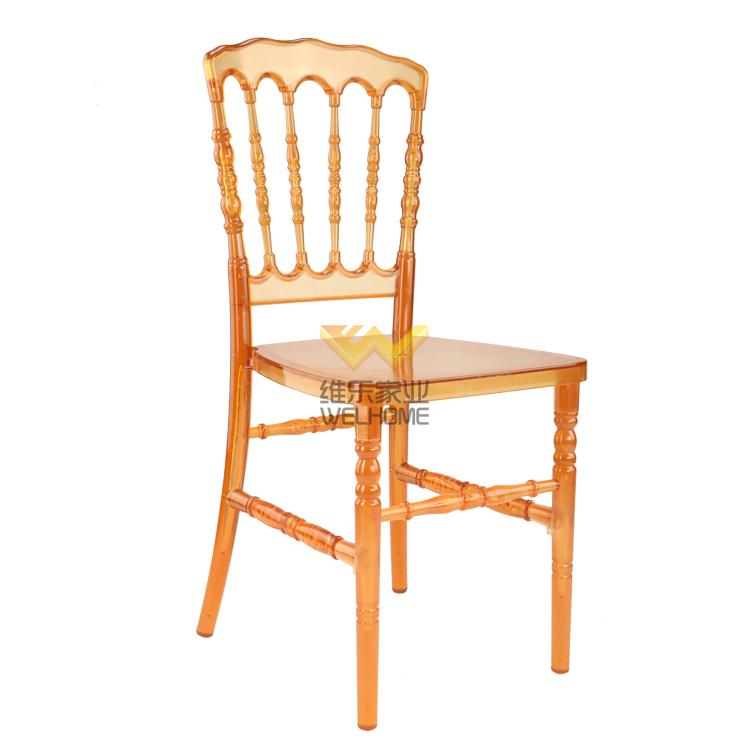Orange acrylic Napoleon chair for wedding/event