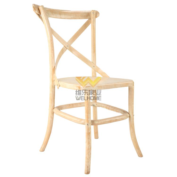 solid oak wood x back chair for event rental