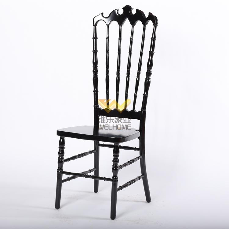Highback Black solid wood Napoleon chair for wedding/event