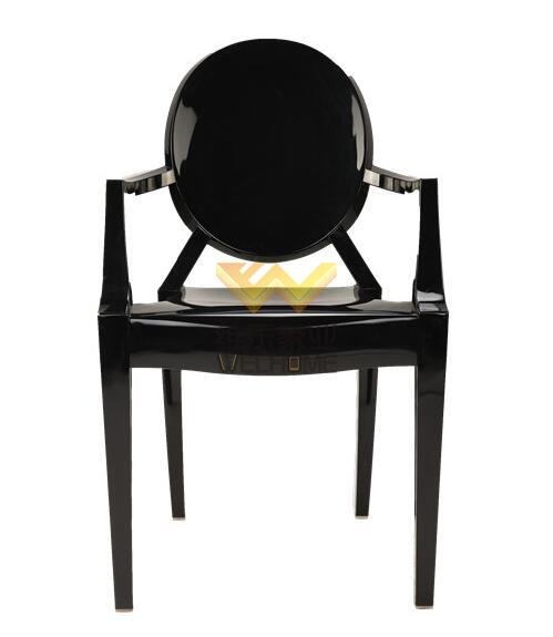 Black resin Ghost chair with armrest for wedding/event