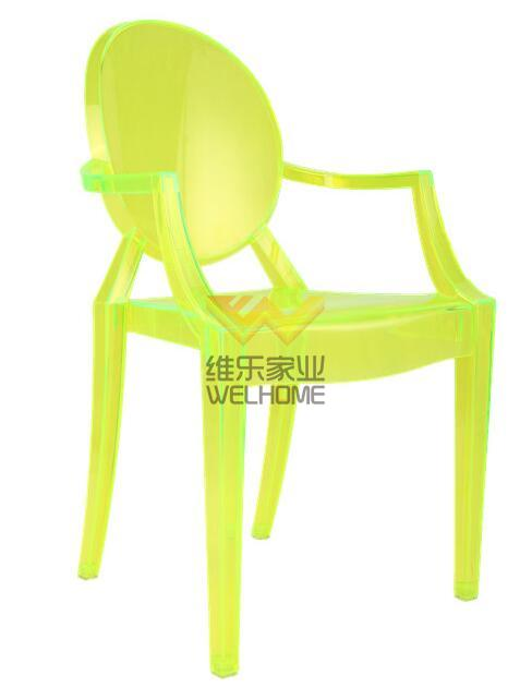 Bright green acrylic ghost chair for event/wedding