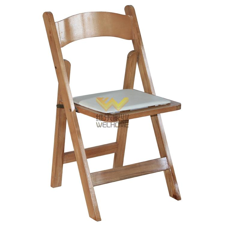 Natural wood folding chair for wedding/event