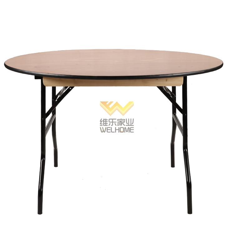 Round plywood folding table for event