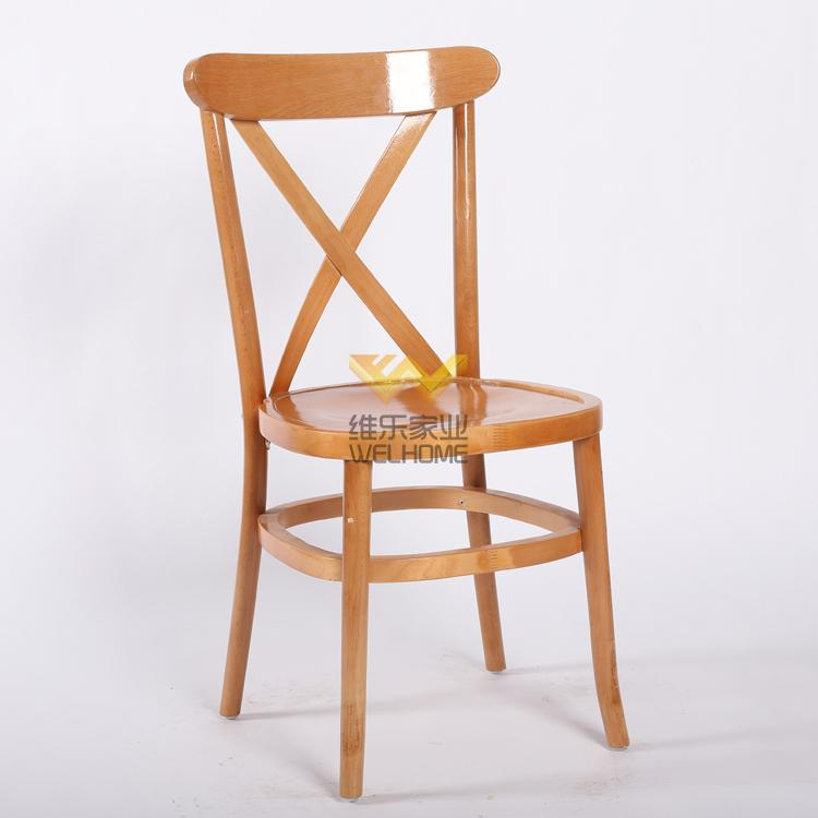 event and hospitality use oak wooden cross back chair on sale