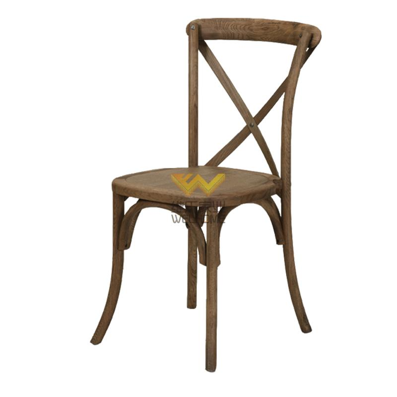 popular solid wood antique cross back chair for rental
