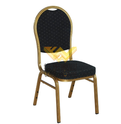 High quality Metal stackable banquet chair with fabric seat for rental