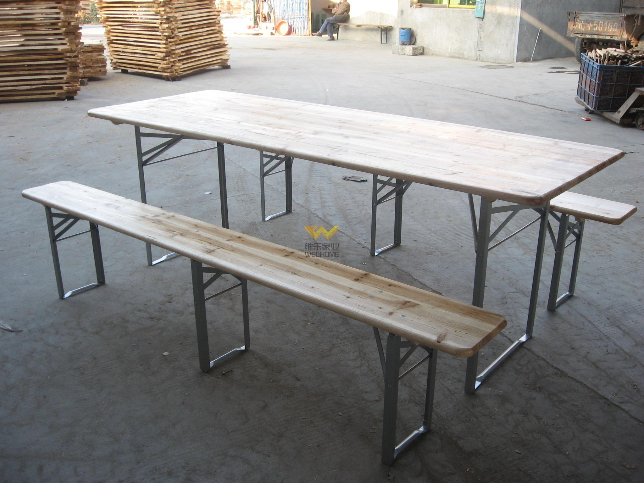Solid wood outdoor picnic table and bench