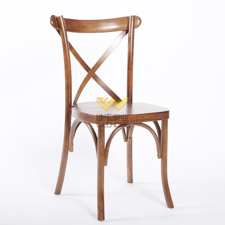 High quality antique oak wooden cross back dining chair for wedding and event