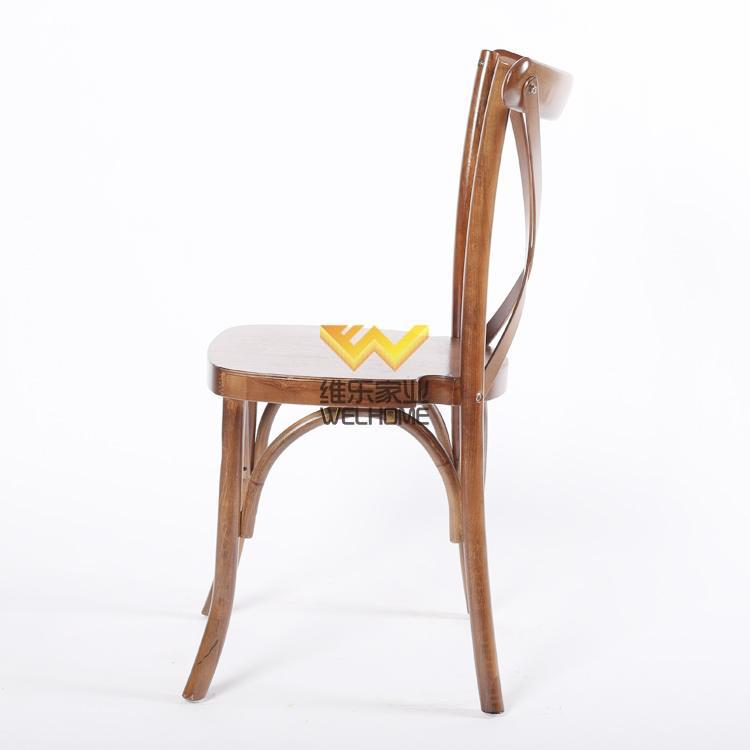 vintage oak wooden crossback chair for wedding rental