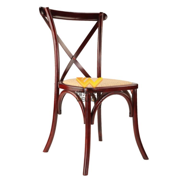 Hotsale oak wooden rattan seat cross back chair for event use