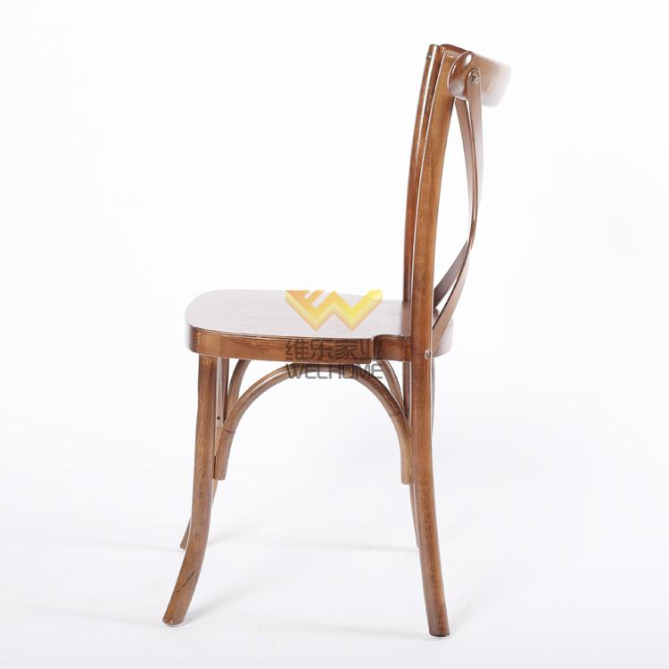 oak wooden rattan seat x back chair for rental