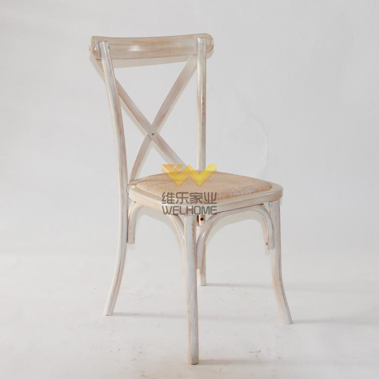 distressed solid wood cross back chair for wedding and event