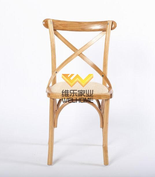 Natural wood crossback bistro dining wedding chair with rattan seat