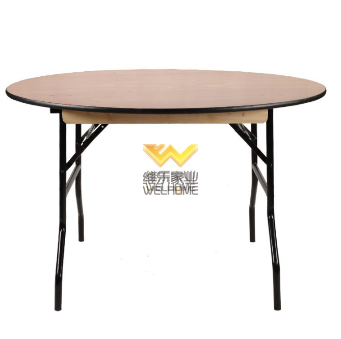 Round plywood folding table for event/restaurant