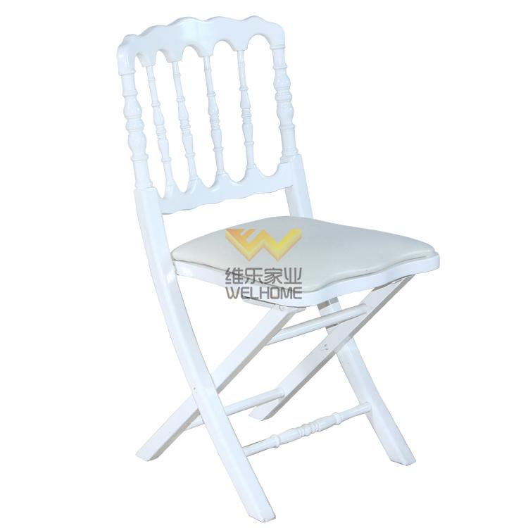 White wooden napoleon folding chair with cushion for wedding/event