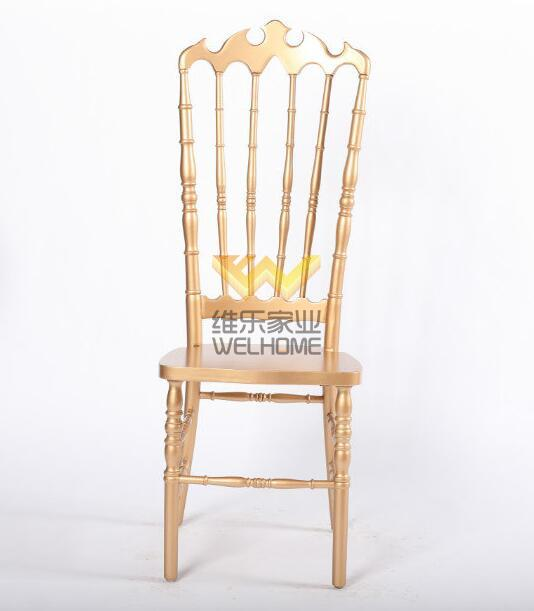 Rose gold solid wood highback napoleon chair for wedding/event