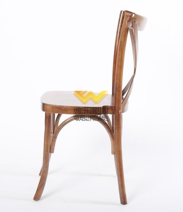 Stackable oak wood cross back chair Hotel wedding crossback chair for event