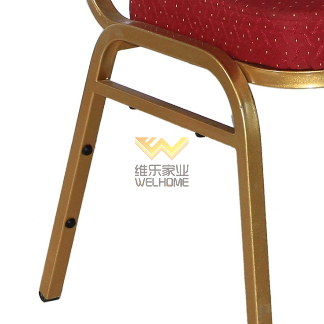 Red seat metal stackable banquet chair for meetings/events