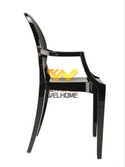 Black resin Ghost chair with armrest for wedding/even
