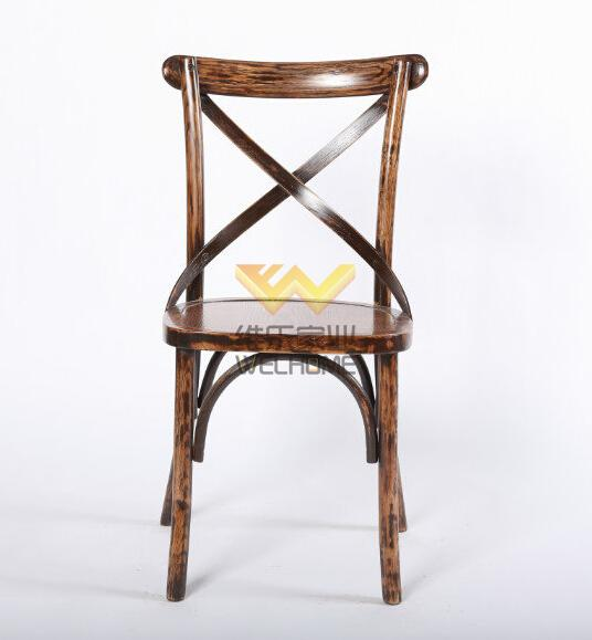 Mahogany solid wood cross back chair for weddiing/event