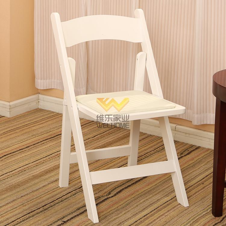 white color beech wood folding chair F1009