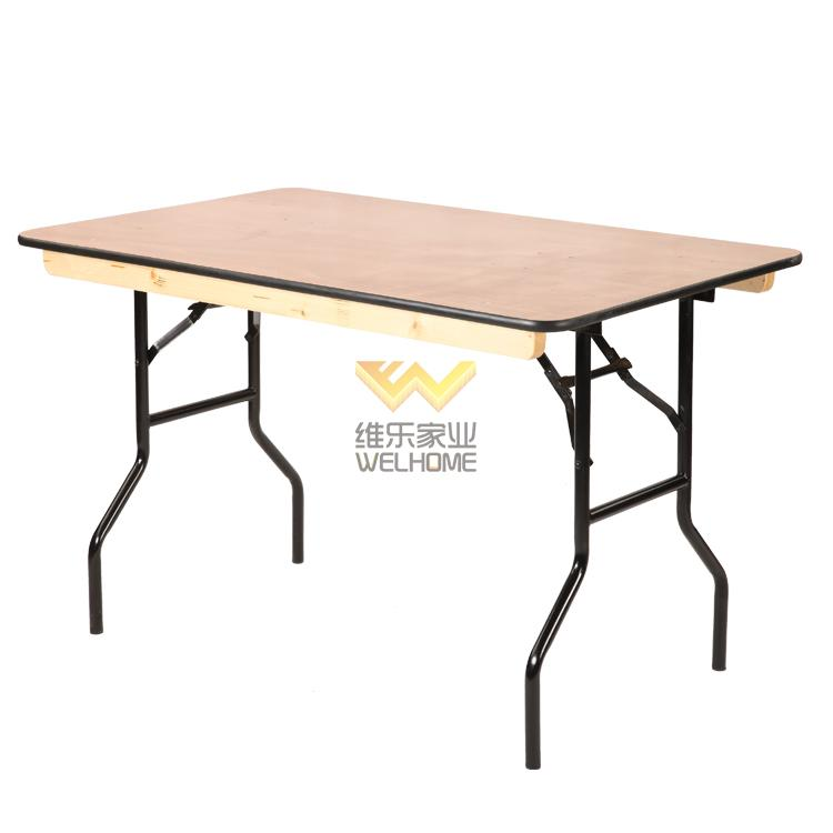 Natural color wooden folding table for event F1022
