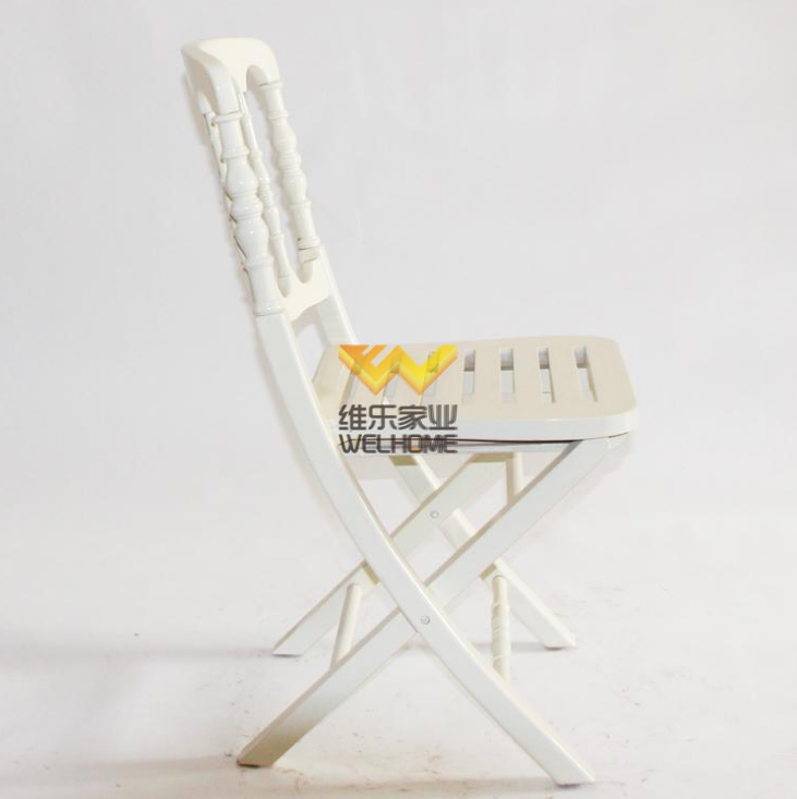 White wooden chateau folding chair for wedding/event